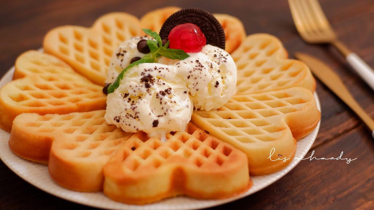 Resep Dan Cara Membuat Waffel Vanilla Tanpa Mixer Yummy Youtube Resep Waffle Vanilla