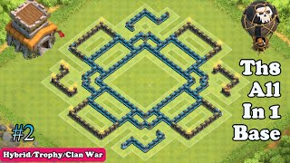 Epic Th8 All in One Base (Hybrid, Clan War, Trophy) | Clash of Clans [2015]