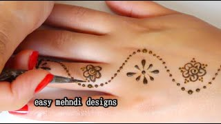 نقش الحناء سهل للمبتدئين -- رسمة حفيفة و صيفية ---- very easy henna designs for beginners