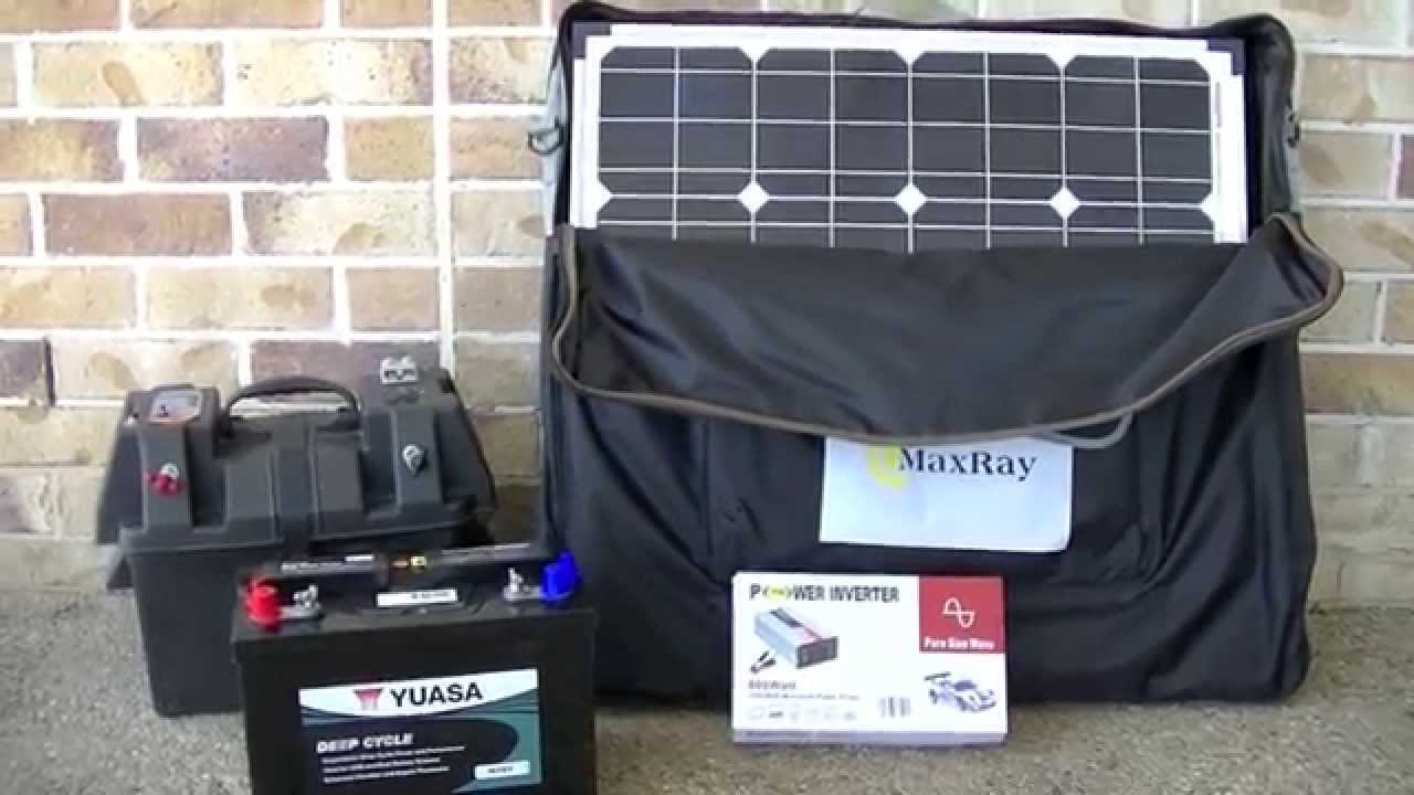 portable solar panel setup for camping or caravan with battery power battery box and power inverter youtube [ 1280 x 720 Pixel ]