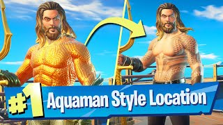 Dive over the Waterfall at Gorgeous Gorge while wearing the Aquaman outift Location - Fortnite