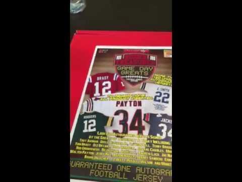 Tristar hidden treasures game day greats football jersey box break.