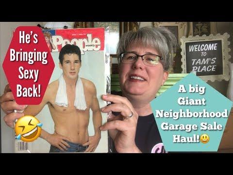 A Big Giant Neighborhood Garage Sale Haul!!   Depression Glass, Vintage People & More!