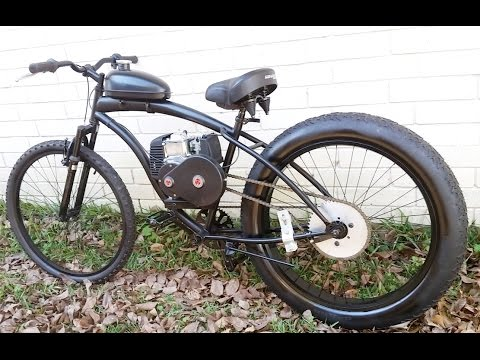 Fat Tire 4 Stroke Motorized Bicycle Fatty Black Youtube