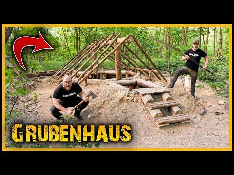 Grubenhaus - Dach und Richtfest - Bushcraft Camp Shelter Survival