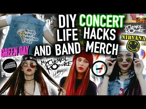 DIY Band Merch and Concert Life Hacks : T-shirts, Clothes, Makeup and more Projects!