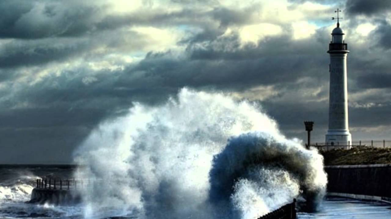 Waves Crashing Dramatically Into Lighthouses - YouTube