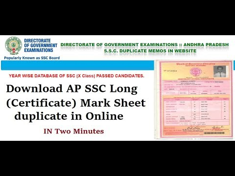 How To Download AP SSC Long (Certificate) Mark Sheet duplicate in Online