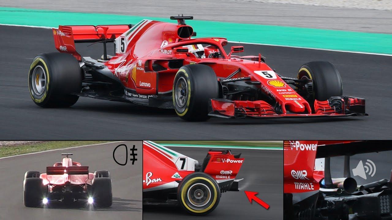 Ferrari SF71H F1 2018 In Action - Strange Test Lights, Rear Smoke,  Wastegates Opening & More!