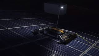 Solar panel cleaning during nighttime in Belgium