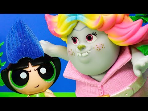 POWER PUFF GIRLS+ TROLLS Poppy Give PPG Troll Makeover and they fight Bridget