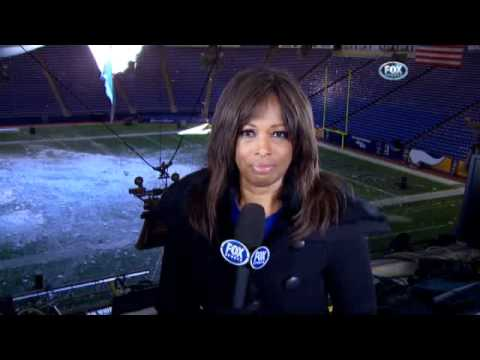 Metrodome roof collapse.  Pam Oliver describes that huge hole behind her.........
