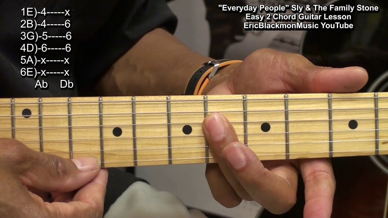 Easy 2 Chord Guitar Song Lesson Everyday People Sly The Family