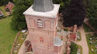 Old Matthias Church, Warmond, The Netherlands. Aerial drone footage