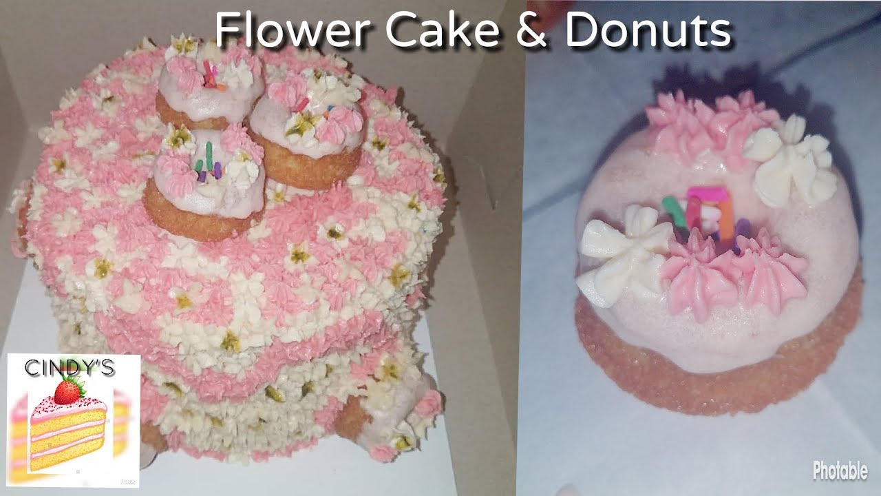 Pink Flower Cake With Mini Donuts Cindys Cakes Youtube