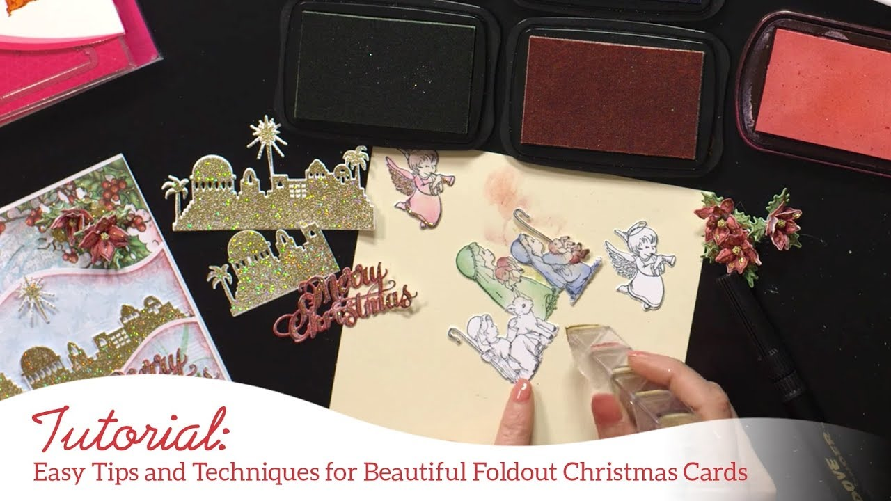 Easy tips and techniques for beautiful foldout Christmas cards - YouTube