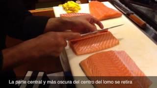 Copia de Corte Japonés y preparación del salmón para sushi y sashimi