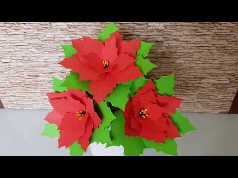HOW TO MAKE POINSETTIA FLOWER FROM CRAFT PAPER | DIY CHRISTMAS FLOWER