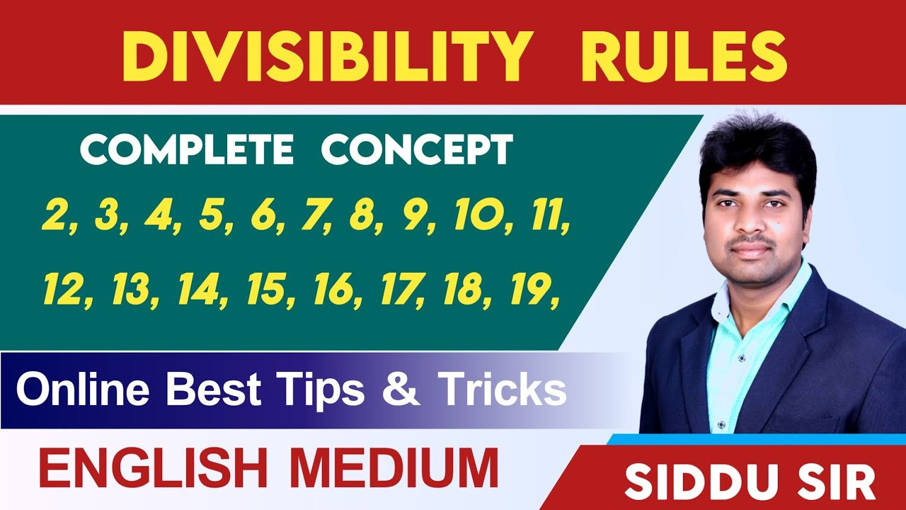 Divisibility rules of number in English Best Concept and Tricks SIDDU SIR VASHISTA360  Number system