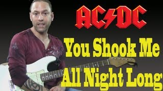 "How To Play ""You Shook Me All Night Long"" by AC DC Guitar Lesson"