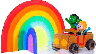 SUPERHERO BABIES GO THROUGH A MAGICAL RAINBOW ❤ SUPERHERO PLAY DOH CARTOONS FOR KIDS