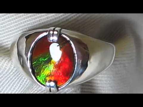 19a61abf63ff2 Mens Sterling Silver Ammolite Ring