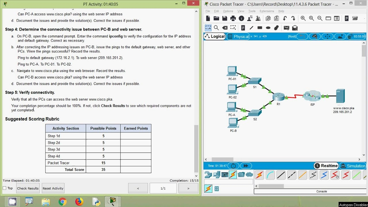 Packet Tracer - Troubleshooting Connectivity Issues
