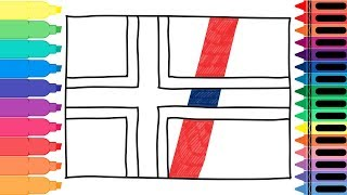 How to Draw Norway Flag - Drawing the Norwegian Flag - Coloring pages for kids | Tanimated Toys