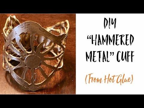"DIY ""Hammered Metal"" Wrist Cuff from Hot Glue"