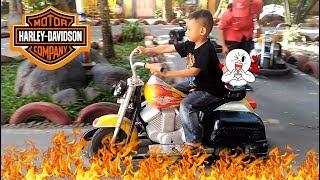 Naik Motor Harley Aki Di Kids Funs Jogja | Mainan Anak Odong-odong Motor