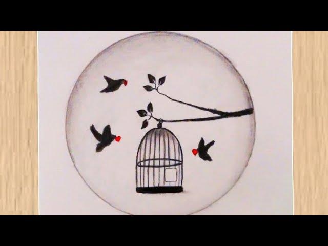 How To Draw Birds From The Cage Guzel Cizimler رسم طيور تخرج من القفص رسم سهل رسومات سهلة Youtube