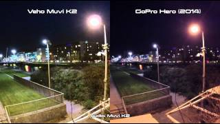 Veho Muvi K2 vs GoPro Hero 2014 Night / Low Light Sample Test