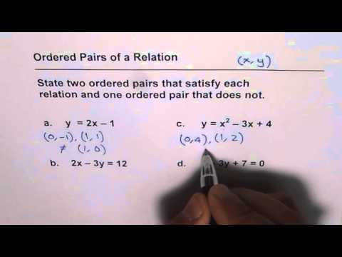 How to Find Ordered Pairs of a Relation