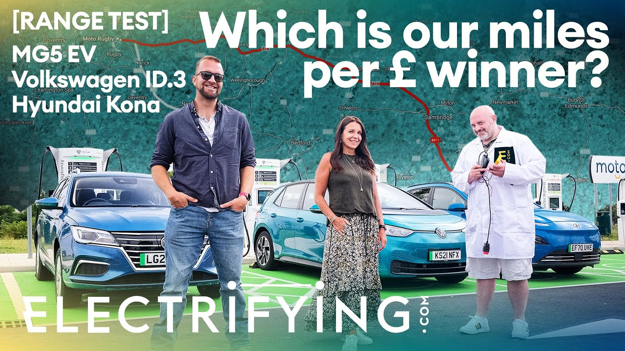 MG5 v VW ID.3 v Hyundai Kona Electric – Which is our real world miles per £ winner? / Electrifying