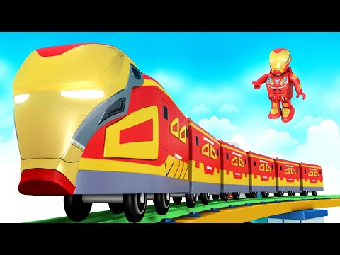 Super Hero Cartoon | Iran Man Cartoon Train For Children Fun - Toy Factory