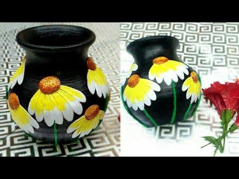 Pot decoration with shilpkar clay. Flower pot painting ideas. Easy pot painting. Shilpkar clay art .