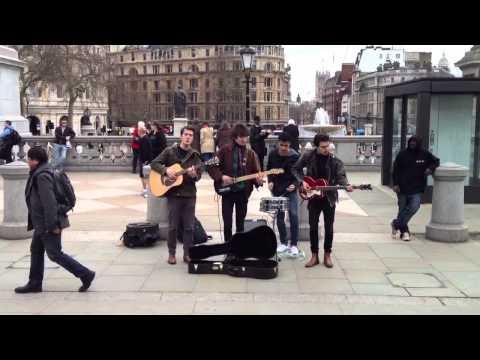 Beatles-like band in Trafalgar Square London