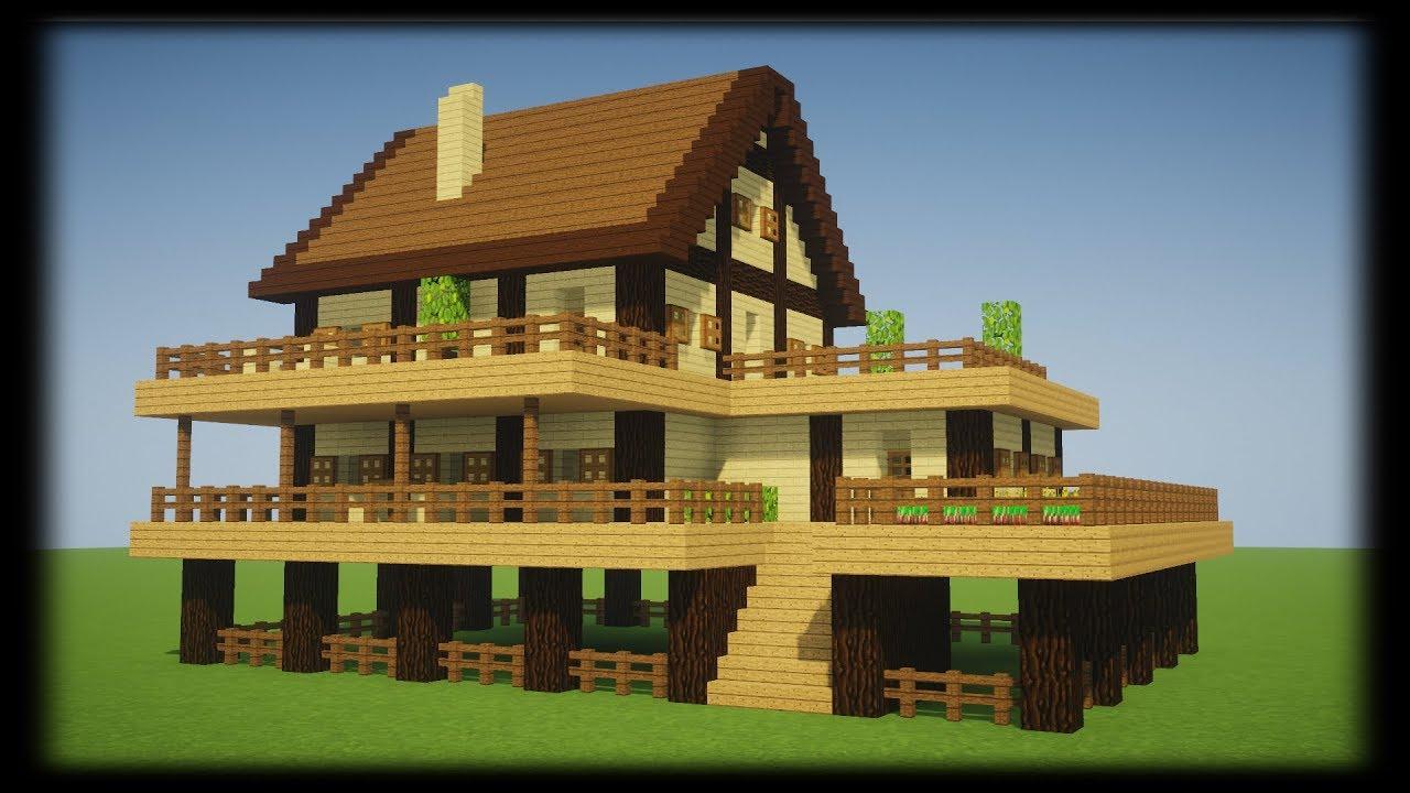 Tuto Enorme Maison En Bois De Survie Minecraft Youtube
