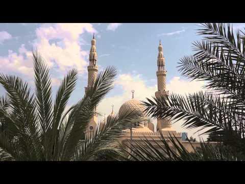 Jumeirah Mosque call to prayer by muezzin. Dubai.