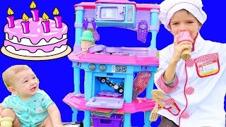 play kitchen melissa doug cook n learn with chef eli toby kitchen food cooking cake ice cream