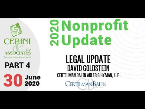 Goldstein's Nonprofit Update, Part 4 (2020)