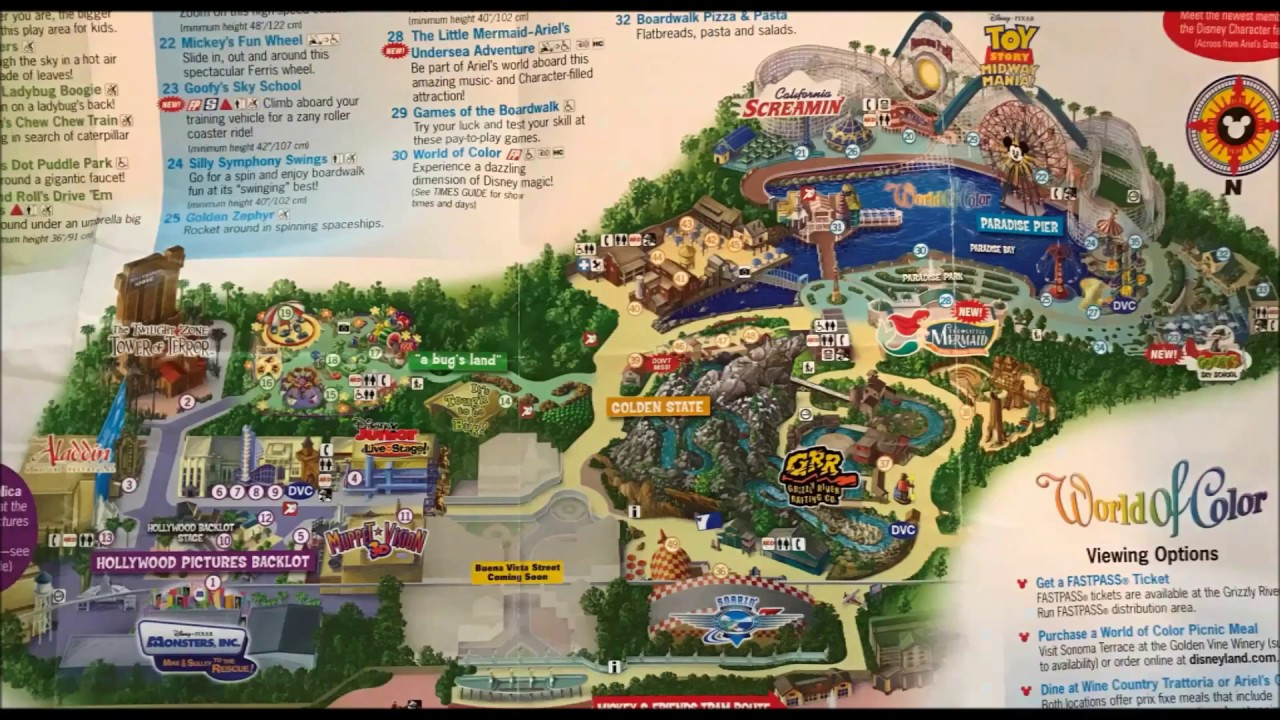 Map Of California Disney.Disney California Adventure Maps Over The Years 2 See Video 3 Its Been Updated