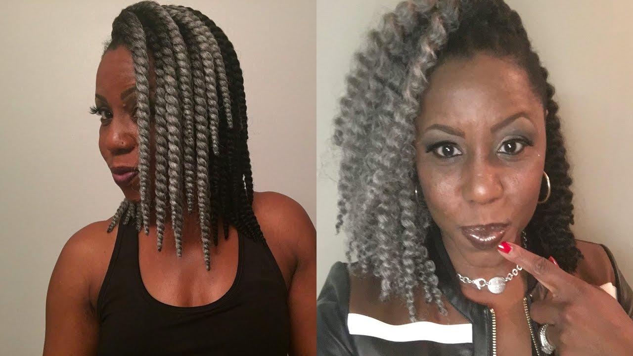 Sexy Black N Grey Skinny Twists Crochet Braids Installation