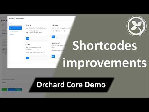 Shortcodes Improvements - Orchard Core Demo