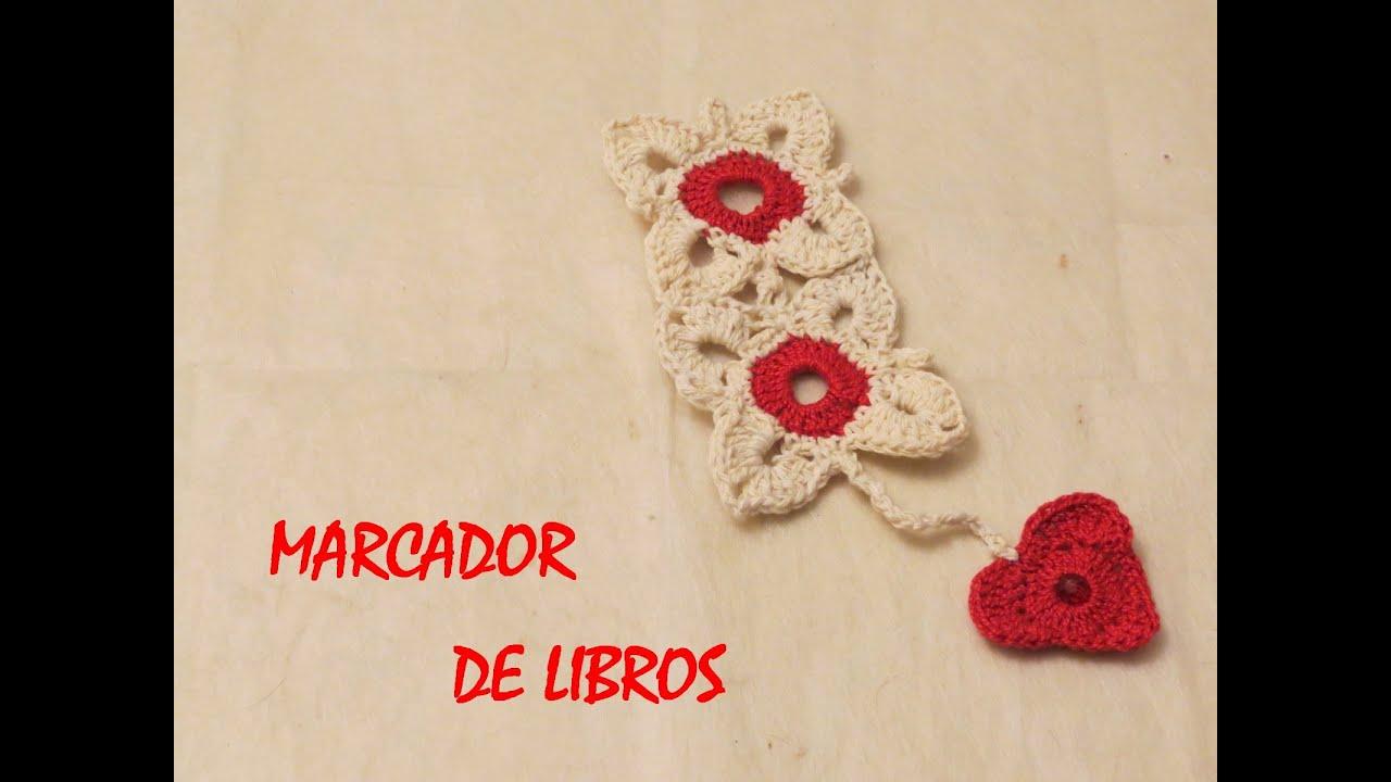 Cómo hacer un marcador de libros con corazón a crochet (Bookmark ...
