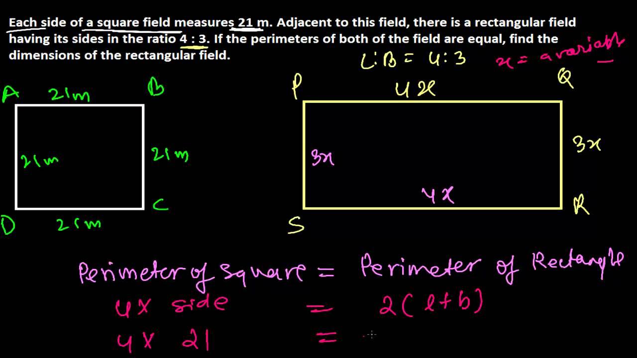 Equal Perimeters  Sides In Ratios  Perimeter Word Problems  Area &  Perimeter 11
