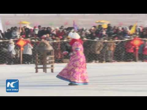Live: Fishermen cast enormous net beneath ice in Chagan Lake in NE China's Jilin #WinterFishing
