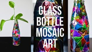 GLASS BOTTLE MOSAIC PAINTING