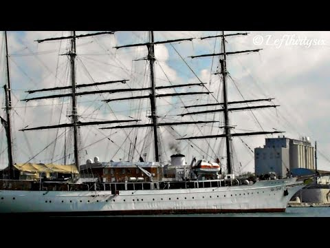 [HD] Sailing cruise ship Sea Cloud at Brindisi Port, Italy [Full Video]