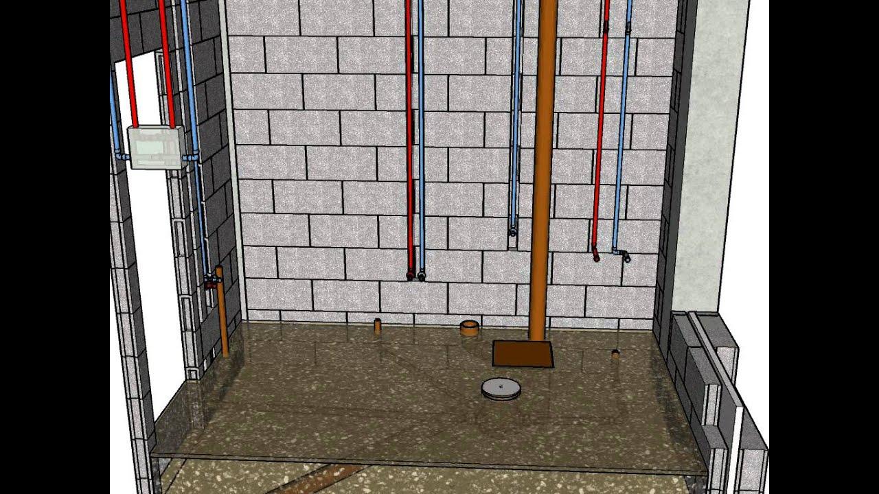 Detalle de instalación en baño (Fontanería, electricidad y ...